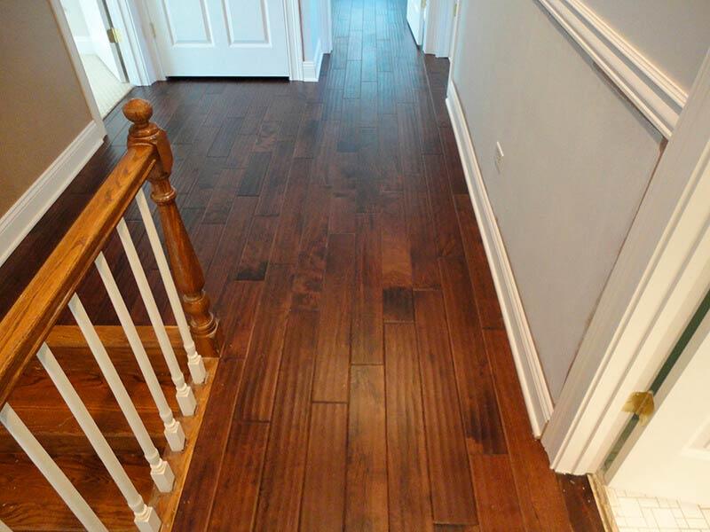 Residential Hand Scraped Birch Hardwood Flooring Installation